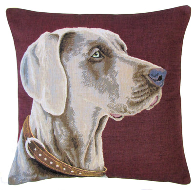 DOG WEIMARANER PORTRAIT Authentic European Belgian Tapestry Throw Pillow Cases - Decorative Pillow Covers - Zippered Throw Pillow Case - Weimaraner Lovers Gift - Fun Dog Pillow Cases - Dog Art - Home Decor Gifts