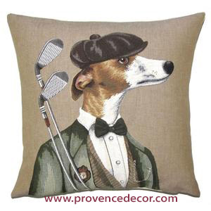 WHIPPET GREYHOUND GOLF PLAYER Authentic European Tapestry Decorative Throw Pillow Cases - Whippet Greyhound Dogs Golf Lovers Cushion Covers Decor - Golf Tournament Golf Player Caddie Master Art Pillow Cover Gift